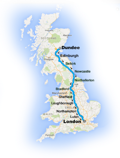 Map of UK showing route